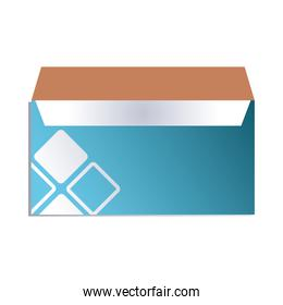 blue envelope with company logo