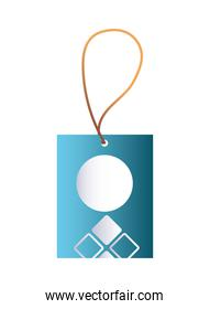 blue hang tag with white and branding