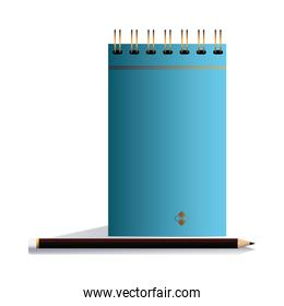 notebook blue with pencil in image corporation