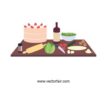 dark wood kitchen countertops with cake, bottle of wine and vegetables
