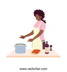 young woman cook preparing a soap