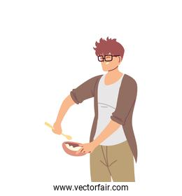 young cook man with glasses on white background