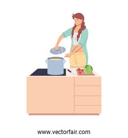 young woman cooked a delicious soup in the kitchen