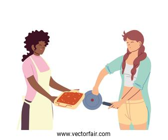 young women cooking with apron and a pot