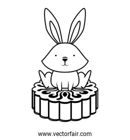 cute easter little rabbit with chinese coin character line style icon
