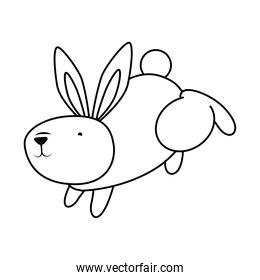 cute easter little rabbit jumping character line style icon