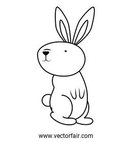 cute easter little rabbit standing pose line style icon