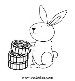 cute easter little rabbit with chinese coins character line style icon