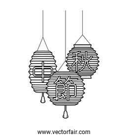 chinese colors lamps decorative hanging line style icons