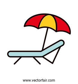 beach chair and umbrella icon, line and fill style