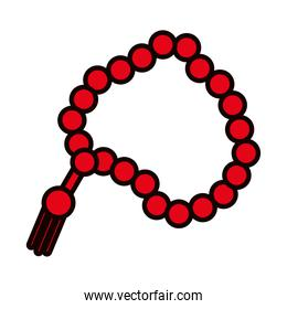 Muslim prayer beads icon, line and fill style