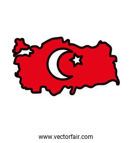 map of turkey with flag design, line and fill style