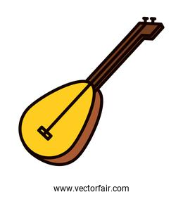 traditional turkish guitar icon, line and fill style
