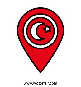 location pin with turkey flag design, line and fill style