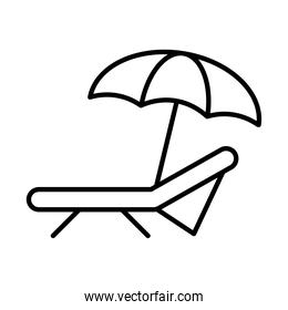 beach chair and umbrella icon, line style