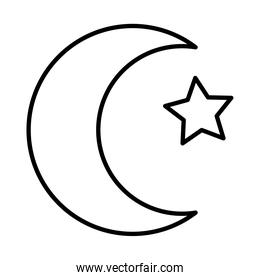 turkey crescent moon and star, line style