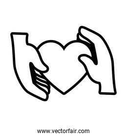 hands holding a heart icon, line style