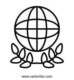 global sphere and leaves wreath icon, line style