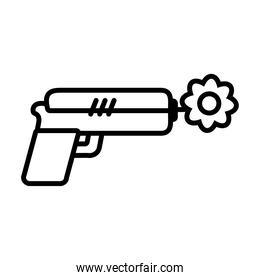 peace symbol, gun with a flower, line style