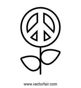 flower with peace symbol icon, line style