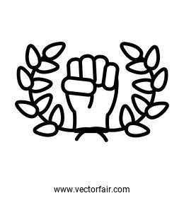 leaves wreath and clenched fist icon, line style