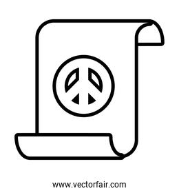 parchment with peace symbol icon, line style