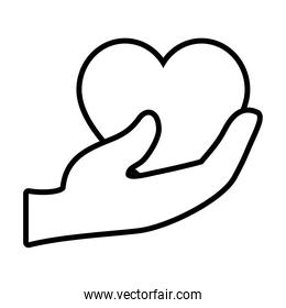 hand holding a heart icon, line style