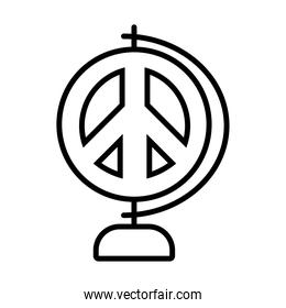 geography tool with peace symbol icon, line style