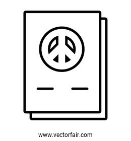 documents with peace symbol icon, line style