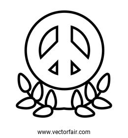 peace symbol and leaves wreath icon, line style