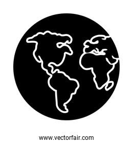 earth planet icon, silhouette style
