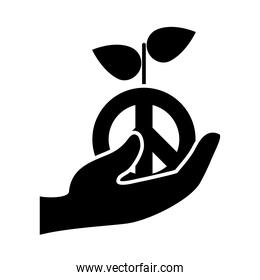 hand holding a peace plant icon, silhouette style