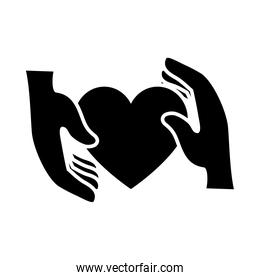 hands holding a heart icon, silhouette style
