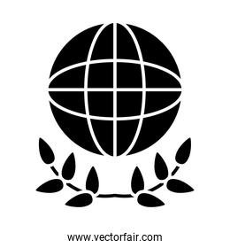global sphere and leaves wreath icon, silhouette style
