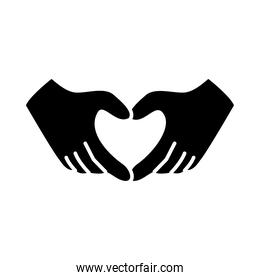hands with heart gesture, silhouette style
