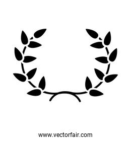 leaves wreath icon, silhouette style