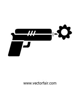 peace symbol, gun with a flower, silhouette style