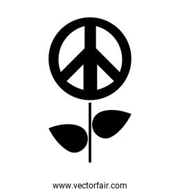 flower with peace symbol icon, silhouette style