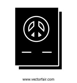 documents with peace symbol icon, silhouette style