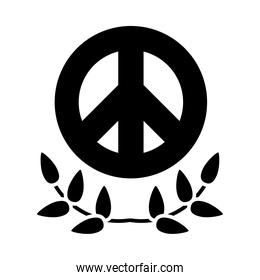 peace symbol and leaves wreath icon, silhouette style
