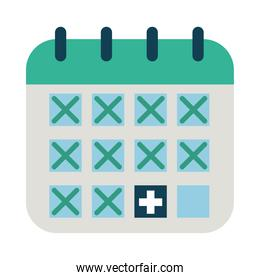 calendar with medical cross icon, flat style