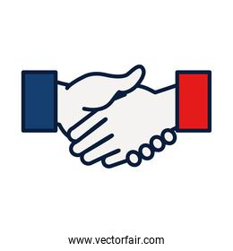 elections concept, hand shaking icon, line and fill style