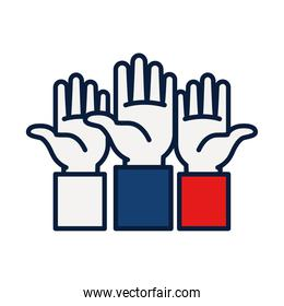 three hands up icon, line and fill style