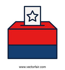 Election Polling Box Icon, line and fill style