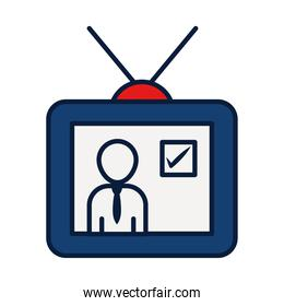 politician on tv icon, line and fill style