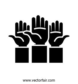 three hands up icon, silhouette style