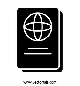 passport document icon, silhouette style