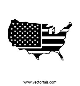 usa map icon, silhouette style