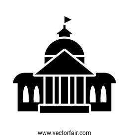 capitol building icon, silhouette style