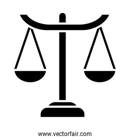 law scale icon, silhouette style